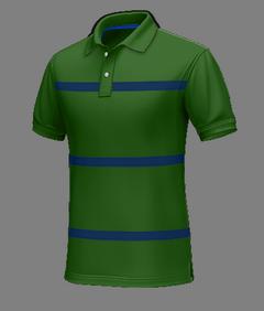 Polo verde a righe blu di cotone - Polo su misura
