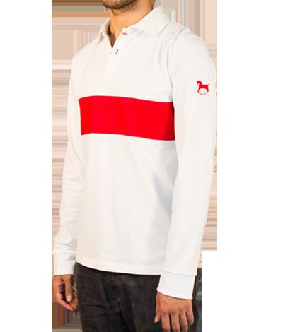 Weißes Polo-Hemd mit langen Ärmeln, Polo-Hemden Leandro Cano