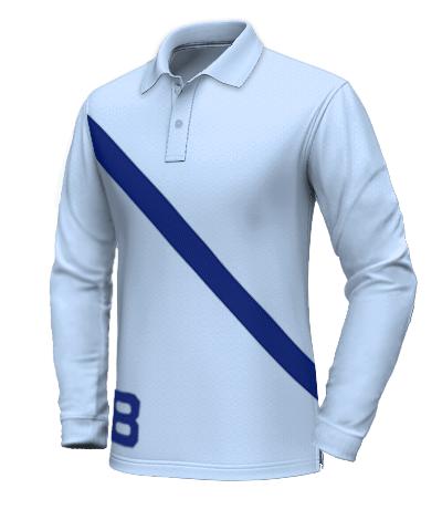 Polo con fascia diagonale blu
