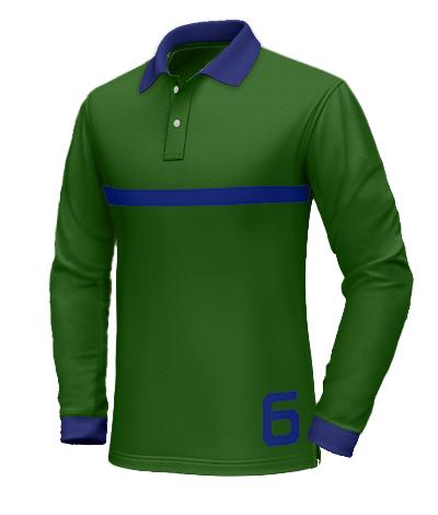Polo verde con colletto blu