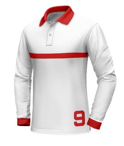 Polo bianca con colletto rosso