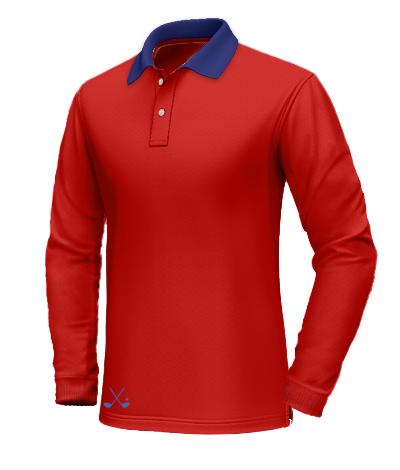 Polo rossa con colletto blu