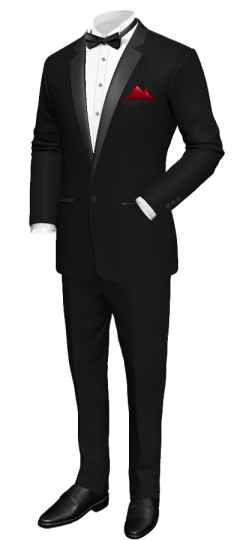 Black tuxedo with notch lapel