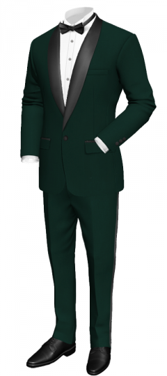 Green tuxedo with rounded lapel