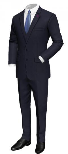 3-teiliger blauer Anzug aus echter Wolle_Tailor4less