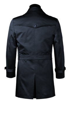 Langer blauer Trenchcoat nach Maß mit Gürtel | Tailor4Less