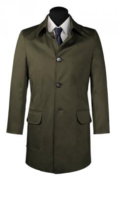 Grüner Trenchcoat aus Baumwolle nach Maß für Herren