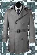 двубортное пальто с поясом-Вид спереди