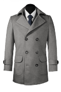 Grey Pea coat-View Front