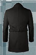 Schwarzer Zweireihiger Mantel mit Gürtel-Ansicht Rückseite