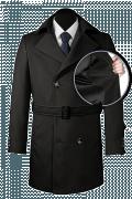 Schwarzer Zweireihiger Mantel mit Gürtel-front_open