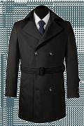 Schwarzer Zweireihiger Mantel mit Gürtel-Ansicht Vorderseite