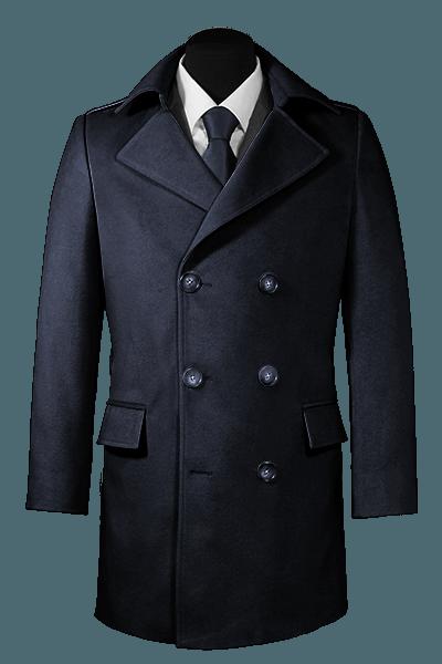 Blauer Zweireihiger Mantel