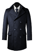 Blue double breasted Coat-View Front