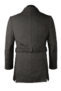 Grey belted Wool Pea coat-View Back