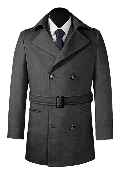 Grey belted Wool Pea coat