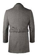 Grey double breasted belted Wool Coat-View Back