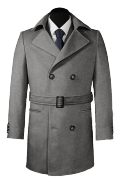 Grey double breasted belted Wool Coat-View Front