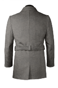 шерстяное двубортное пальто-бушлат с поясом-Вид сзади