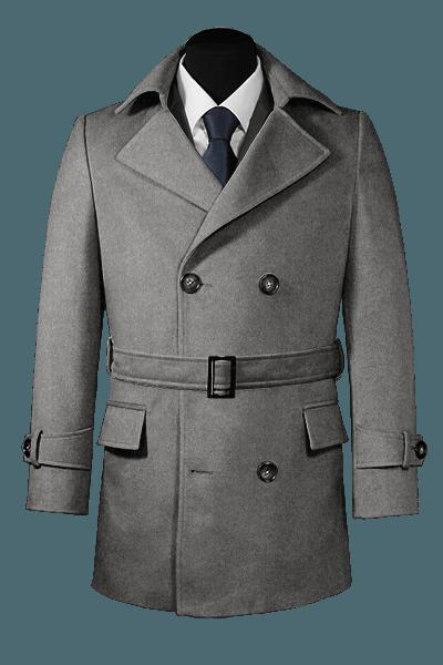 шерстяное двубортное пальто-бушлат с поясом