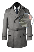 Grey belted Wool Pea coat-front_open