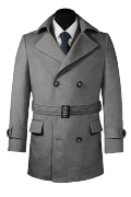 Grey belted Wool Pea coat-View Front