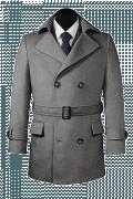 шерстяное двубортное пальто-бушлат с поясом-Вид спереди