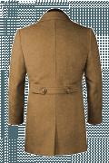 Beige Zweireihiger Mantel aus Wolle-Ansicht Rückseite