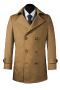 Beige Wool Pea coat-View Front