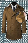 Brown Pea coat-front_open