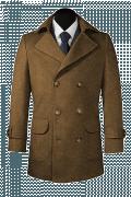Brown Pea coat-View Front