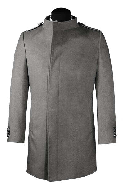 Grey double breasted stand up collar Coat