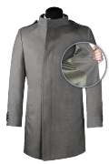 Grey double breasted stand up collar Coat-front_open