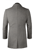 Grey double breasted stand up collar Coat-View Back