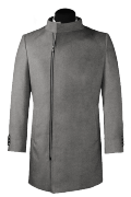 Grey double breasted stand up collar Coat-View Front