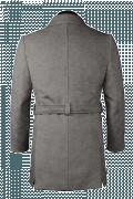 Grauer Zweireihiger Mantel mit Gürtel-Ansicht Rückseite