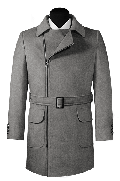 Grey double breasted belted Coat