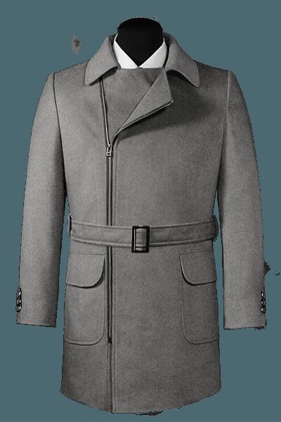 Abrigo gris cruzado con cinturón