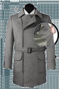 Grauer Zweireihiger Mantel mit Gürtel-front_open
