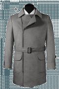 Grauer Zweireihiger Mantel mit Gürtel-Ansicht Vorderseite