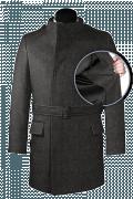 Cappotto doppiopetto con cintura grigio di lana-front_open