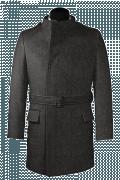 Grauer Zweireihiger Stehkragen Mantel aus Wolle-Ansicht Vorderseite