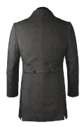 Grey double breasted stand up collar Wool Coat-View Back