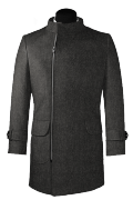 Grey double breasted stand up collar Wool Coat-View Front