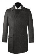 Grey double breasted Wool Coat-View Front