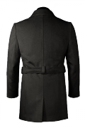 Manteau noir croisé avec ceinture en laine-Vue Dos
