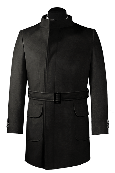 Black double breasted belted Wool Coat