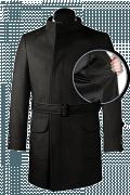 Manteau noir croisé avec ceinture en laine-front_open