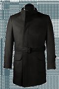 Manteau noir croisé avec ceinture en laine-Vue Avant