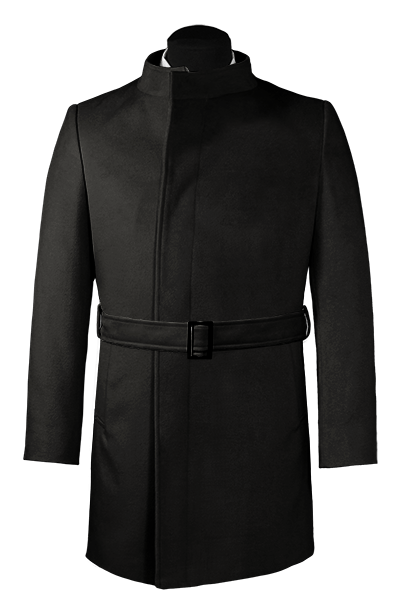 двубортное пальто с поясом